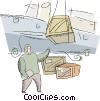 unloading freight from a ship Vector Clipart image