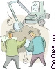 looking at blueprints at construction site Vector Clipart picture