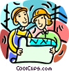 contractors looking at blueprints Vector Clipart illustration