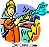 Vector Clipart image  of a firefighter
