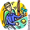Vector Clipart graphic  of a judge in a court of law