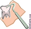 Vector Clipart image  of a dental pick and tooth