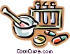 pestle and mortar, test tubes Vector Clipart illustration