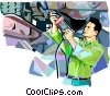 Vector Clipart illustration  of an auto mechanic