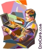 businessman working on a computer Vector Clipart graphic