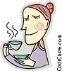 Vector Clip Art graphic  of a Having Coffee