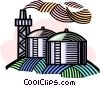 factory with a smokestack Vector Clipart graphic