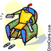 person sitting in a chair with the remote control Vector Clip Art picture