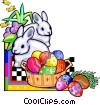 Easter rabbits, eggs and basket Vector Clipart picture