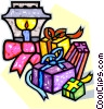 Christmas presents by a lantern Vector Clipart graphic