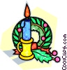 Vector Clipart illustration  of a candle with a wreath in the