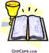Vector Clip Art graphic  of a Bible with communion cup