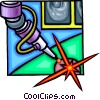 Vector Clip Art graphic  of a laser surgery