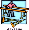 Vector Clipart graphic  of a person doing physiotherapy