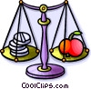 scale with vitamins and vegetables Vector Clip Art graphic