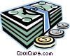 Vector Clip Art graphic  of a dollar bills and coins