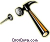 Vector Clip Art image  of a hammer and nail