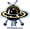Vector Clip Art graphic  of a Flying saucers