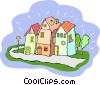Vector Clipart image  of a houses on a street