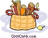 firewood in a basket Vector Clip Art image
