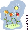 Vector Clipart picture  of a sunflowers growing in the sun