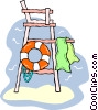 lifeguard tower with life preserver Vector Clipart picture