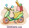 motor scooter with a bag of groceries Vector Clip Art image