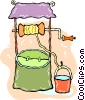 bucket of water by the well Vector Clip Art image