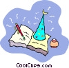 Vector Clip Art graphic  of a wizard hat sitting on a book