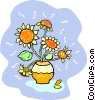 Vector Clip Art image  of a sun flowers in a pot