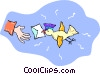 Vector Clipart illustration  of a bird delivering a letter