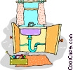 Vector Clip Art image  of a plumbing problem with the