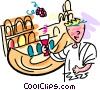 man tasting wine at the winery Vector Clipart image