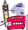 double decker bus in front of the clock tower Vector Clip Art graphic