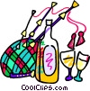 bag pipes with a bottle of liquor and glasses Vector Clipart image
