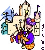 Vector Clipart picture  of a playing bagpipes in front of castle