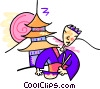 Japanese man eating in front of a temple Vector Clipart image