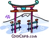 Japanese temple Vector Clipart graphic