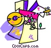 Vector Clipart illustration  of a loot with a kimono