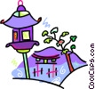 Vector Clip Art image  of a Japanese lantern by a temple