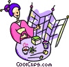 Vector Clip Art image  of a Japanese woman drinking tea