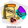 Vector Clipart graphic  of a coffee beans and a change