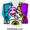 comedy and drama masks Vector Clipart illustration