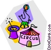 Vector Clipart graphic  of a circus with trained seals and magic hat
