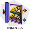 Vector Clip Art picture  of a baked goods in the oven