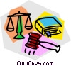 gavel, law book, and scales of justice Vector Clipart image