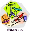 Paris vacation with airline tickets Vector Clipart illustration