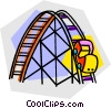 Vector Clip Art graphic  of a roller coaster rides