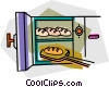 Vector Clipart graphic  of a baking bread in an oven