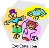 Vector Clip Art image  of a toys for sale
